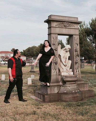 Engagement Photography Engagement Cemetery Togetherness Alternative Lifestyle Gothic Beauty  Grass And Sky California