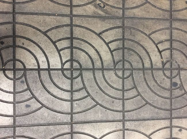 Bangkok Thailand. Street concrete tiles Curved Pattern traditional wavey tiles Thai Style