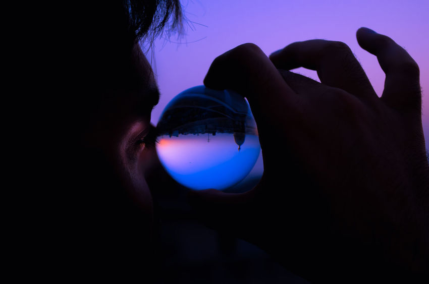 Close-up Day Human Body Part Human Hand Inverted Images Lens Ball One Person Outdoor Photography Outdoors People Real People Sunrise