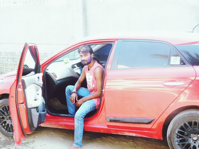 One Person Close-up Red Car Modified Colour Day Happy Holi Colourful Day Enjoying Smiling Young Adult