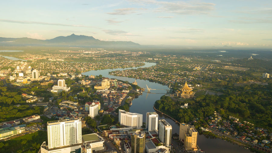 Kuching Sunrise ariel view Kuching Aerial View Architecture Building Building Exterior Built Structure City Cityscape Cloud - Sky Financial District  High Angle View Malaysia Nature No People Office Building Exterior Outdoors Residential District River Sarawak Sky Skyscraper Water