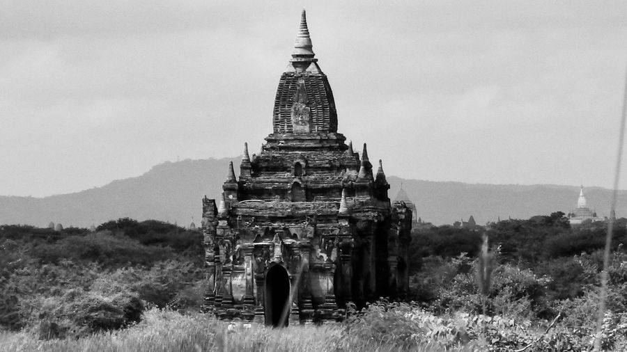Black And White Friday Architecture Religion Place Of Worship Spirituality Building Exterior Landscape Outdoors History Field Ancient No People Bagan, Myanmar Temple Pagoda Temple Field