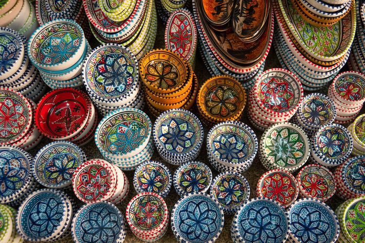 Full frame shot of multi colored pattern for sale in market