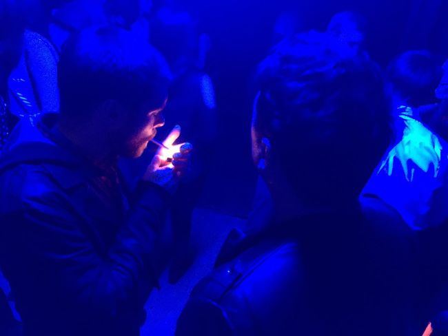 "Sketches from the nightlife | ""Blue light"" dedicated smoking room at ADU party, Culture Factory, Zagreb, Croatia, Nov 26, 2016 