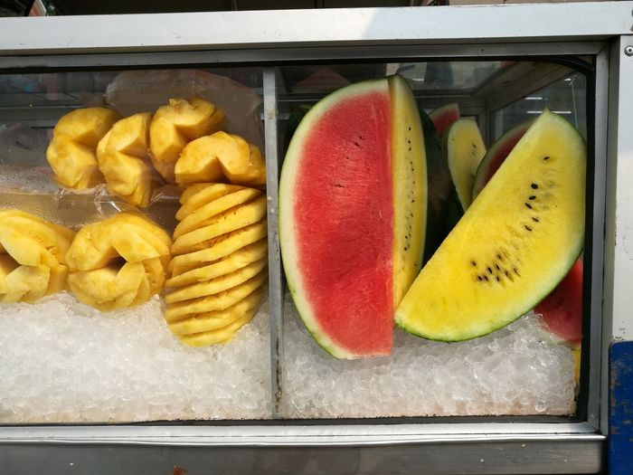 frult Food Food And Drink Healthy Eating Fruit Freshness Yellow Wellbeing No People Indoors  Container Business High Angle View Ripe Still Life Close-up Red Choice Day Retail  Tray Watermelon