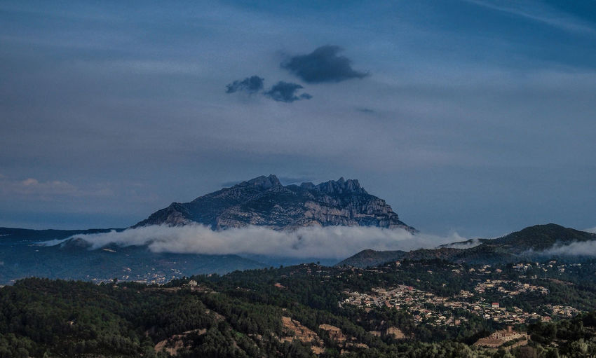 The mountain of Montserrat from Ullastrell - Catalunya Beauty In Nature Blue Blue Sky Cloud Cloud - Sky Clouds And Sky Dawn Dawn Collection Dawn Of A New Day Landscape Montserrat Mountain Mountain Peak Mountain Range Nature Night No People Outdoors Scenics Sky Snow Snowcapped Mountain Tree