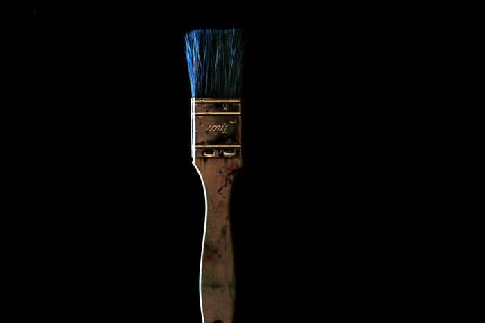 """""""Art for art's sake"""" Photography Black Background Studio Shot Art Blue Brush Blue Brush; Painting Oil Painting Indoors  Picoftheday Light And Shadow Colors Black Background"""