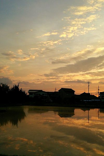 Reflection Reflections In The Water Sunset Nature View Clouds And Sky Sky Taking Photos TheWeekOnEyeEM Color Cloud Rural Rurallandscape 空 風景 景色 雲 Japan 反射 反映 EyeEm Best Shots - Nature Eyeemphotography EyeEm Nature Lover Eyeembestshot-reflection Welcome To Black EyeEm Selects
