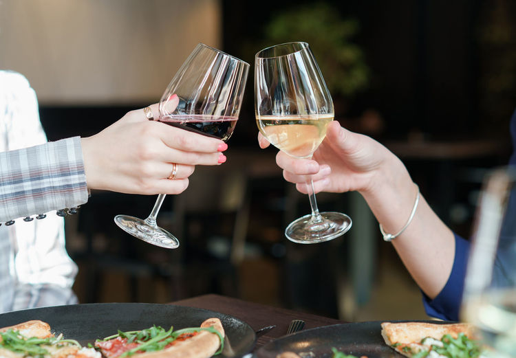 Woman toasting with wine in the bar Food And Drink Wine Toasting Wineglass Lifestyles Holding Human Body Part Human Hand Real People Red Wine Freshness Drink Women Food Red Wine Focus On Foreground Alcohol Refreshment Glass People Hand Food And Drink Finger Pizza Time Pizza Adult White Wine
