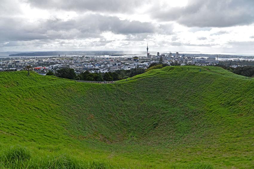 City of Auckland from Mt Eden Mt Eden A Cityscape Cloud - Sky Crater Field Grass New Zealand
