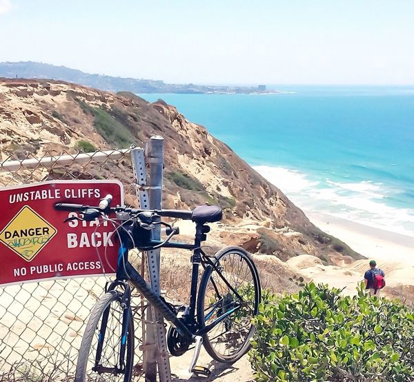 The officially prohibited, commonly made trek down to San Diego's very own clothing optional beach. Sunshine Sea Enjoying The Sun Water Vacation Ocean Summer Traveling Beach Exploring West Coast Outdoors Hiking Adventure Bicycle Biking Escape Remote Cliffs Scenery Adventure Club