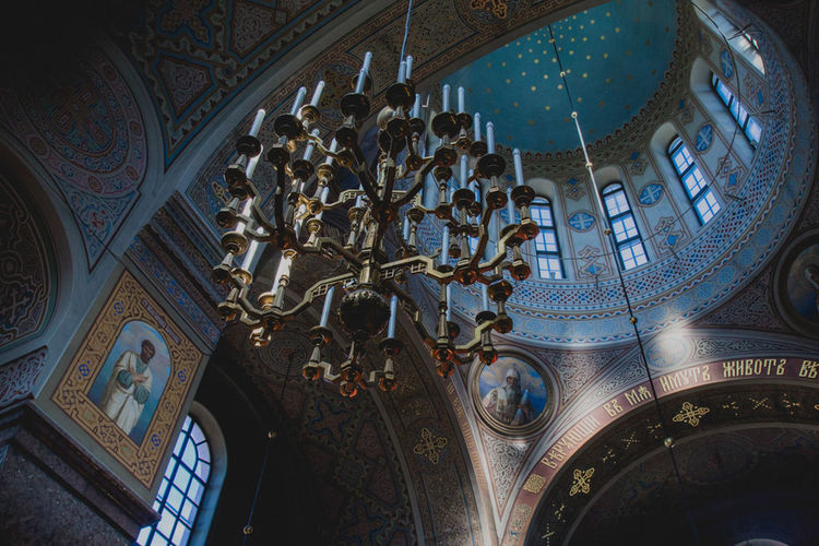 EyeEmNewHere Helsinki Orthodox Church Arch Architecture Built Structure Ceiling Chandelier Dome History Indoors  Low Angle View No People Ornate Place Of Worship Religion Spirituality Window
