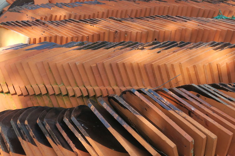 Backgrounds Full Frame Hardened Clay In A Row Large Group Of Objects Lines, Shapes And Curves Material No People Outdoors Red Brown Roof Tiles