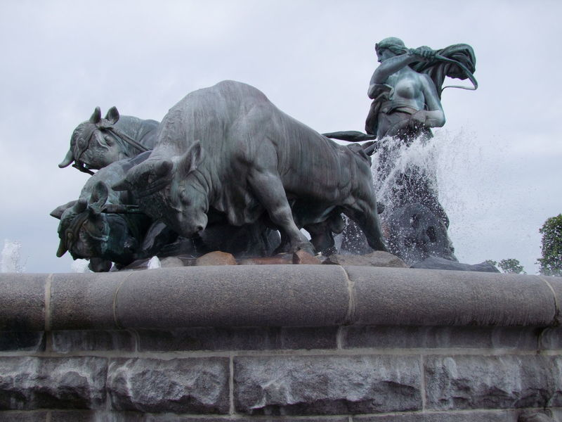 Fountain near to Saint Albans Church Animal Representation Art Bronze Sculpture Bulls Capital City Composition Copenhagen Denmark Fountain Full Frame Grey Sky Human Representation No People Outdoor Photography Sculpture Spray Statue Tourism Tourist Attraction  Tourist Destination Travel Destinations Unusual Water