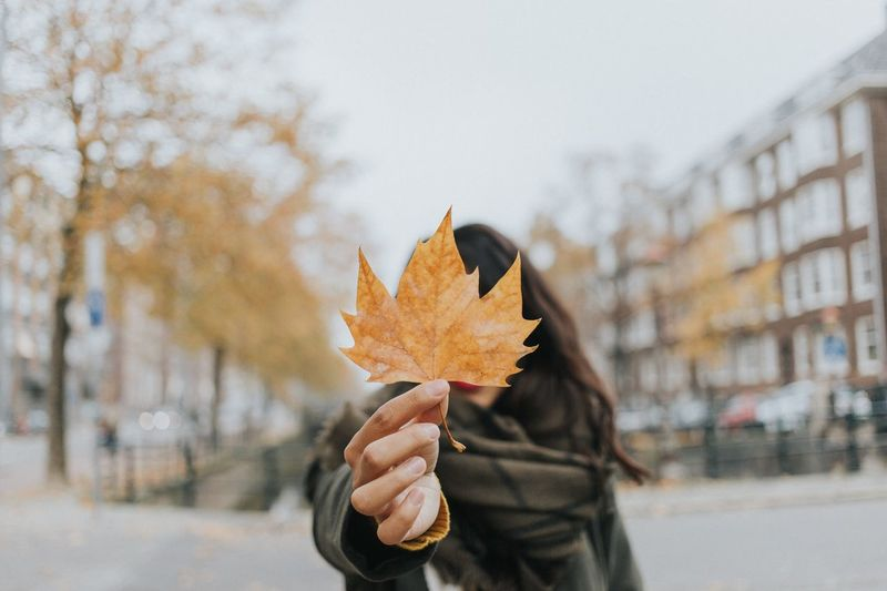 Woman Holding Maple Leaf During Autumn While Standing On Road In City
