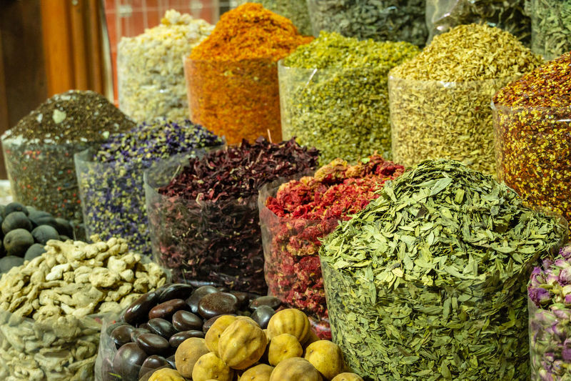 Various dried fruits and spices for sale at street market