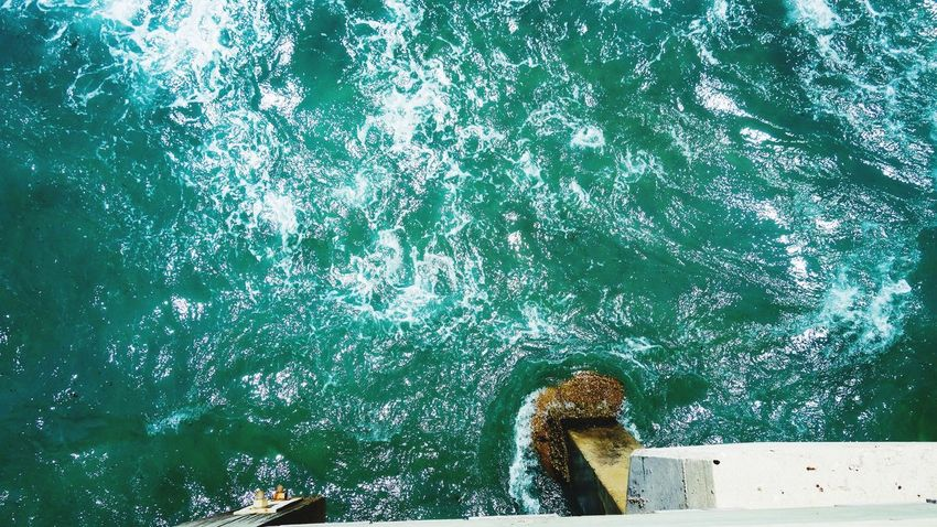 High Angle View Water Day Nature Outdoors Motion No People Ocean Waves Current Pier
