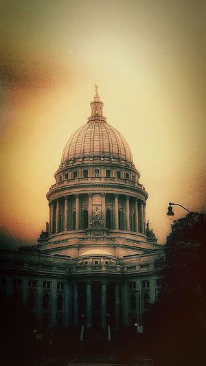 Mad City😎 Dome Architecture Built Structure Travel Destinations Sunset Government Building Exterior Politics Politics And Government Outdoors Sky No People Day City Madison Wisconsin October Life
