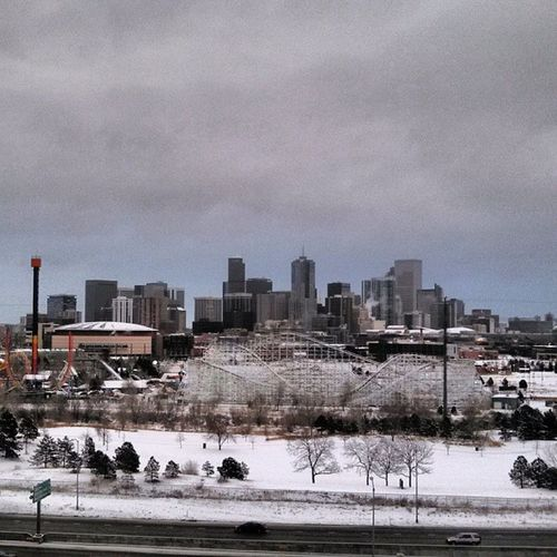 A wintertime perspective of Downtown Denver Colorado - the Mile High City