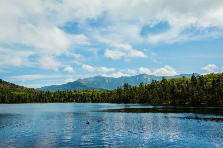 Lonesome Lake Adventure Mountain Lake Beauty In Nature Nature Tranquil Scene Scenics Idyllic Sky Tranquility Water Tree Outdoors Animal Themes Day No People Lonesome Lake White Mountains