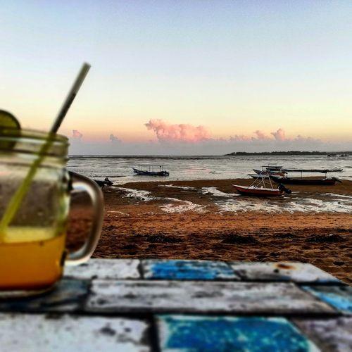 sunset aperitif Bali Ricspix Geniusbar Water Sea Sunset Drink Beach Drinking Glass Drinking Straw Sky Horizon Over Water Close-up