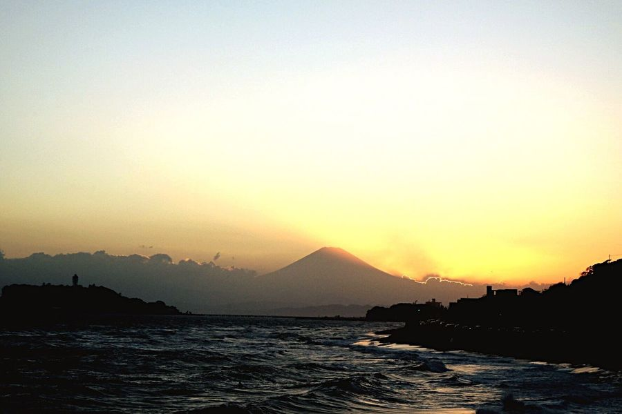 Enoshima Island Inamuragasaki Kanagawa Sea And Sky Sunset Shallow Shade Mt.Fuji Evening Sunshine Beach Orange