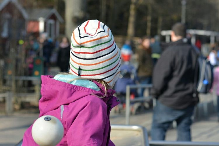 The Human Condition, Children Playing in Sweden , northern Europe Child With Hat Playground Playful Child Park Life Kid Kids Playing Outside