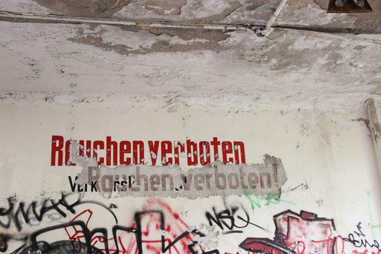 Abandoned Places Art Is Everywhere Discovering Graffiti Sign Wall Abandoned Adventure Architecture Art Built Structure Close-up Day Graffiti Graffiti Art Graffiti Wall Lost Places No People Old Outdoors Rauchen Verboten Streetart Text Wall - Building Feature Warning Sign