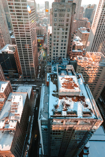 Architecture Built Structure Building Exterior City Outdoors Day No People Cityscape Urban Skyline Sunlight City Life Chicago Winter Snow Downtown District Skyscraper Aerial View High Angle View
