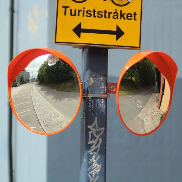 Goggles Mirrors Directional Sign No People Crossing Convex Mirror City Text Close-up Road Sign Information Pedestrian Crossing Sign Arrow Symbol Bicycle Lane