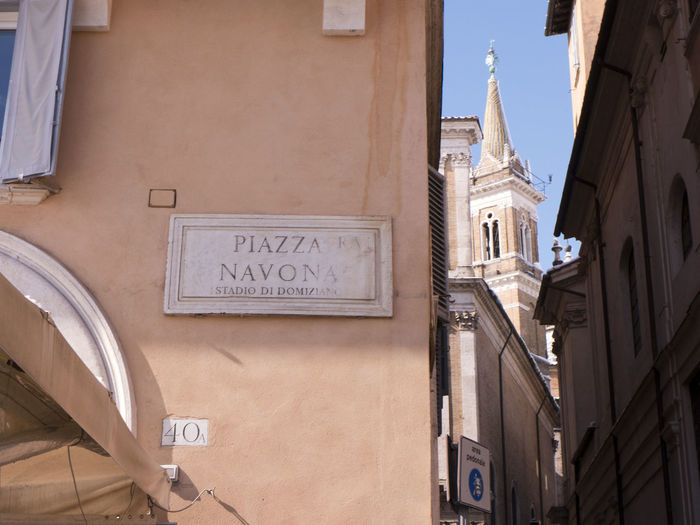 40 Cityscape Piazza Navona Place Roma Square Architecture Blue Sky Building Exterior Built Structure Campanile Day Italy No People Outdoors Piazza Place Of Worship Religion Signboard Sky