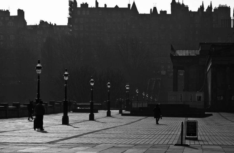Architecture B L A C K A N D W H I T E Blackandwhite Blackandwhite Photography Building Exterior Built Structure City Edinburgh Horizontal Lamp Post Lifestyles Outdoors People Real People Travel Destinations