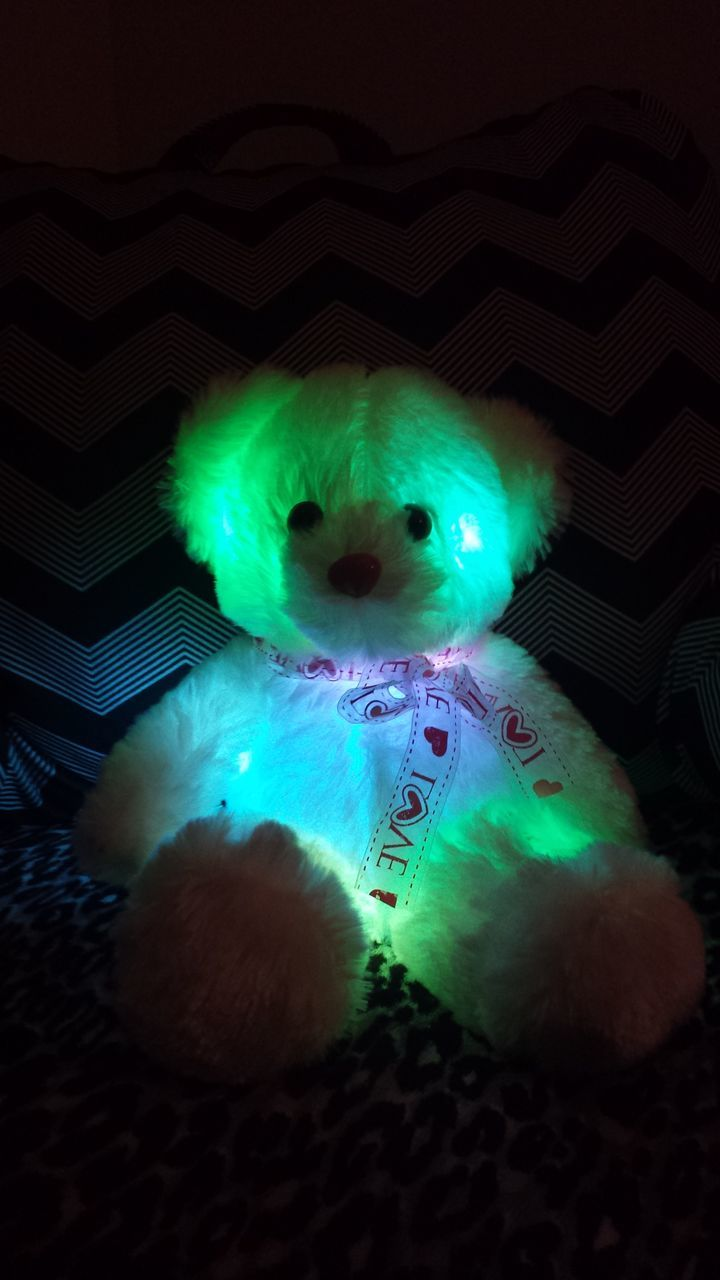 indoors, illuminated, toy, night, christmas, stuffed toy, green color, christmas lights, holiday - event, childhood, christmas decoration, teddy bear, no people, close-up, mammal