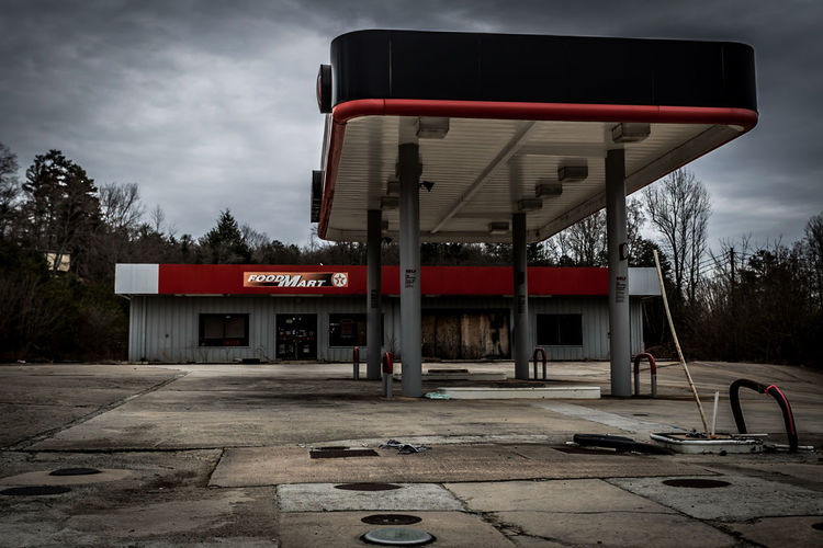 Abandoned Texaco Station Dawson County, GA. Architecture Building Building Exterior Built Structure Chair City Communication Direction Empty Guidance Illuminated Information Night Non-western Script Sign Street Texaco, Text Western Script Window