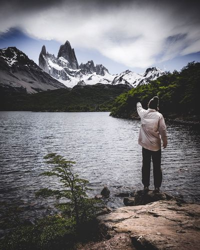 Look. El Fritz Roy Patagonia Mountain Mountain Epic Landscape Moody Water Sky Cloud - Sky Rear View Mountain Scenics - Nature One Person