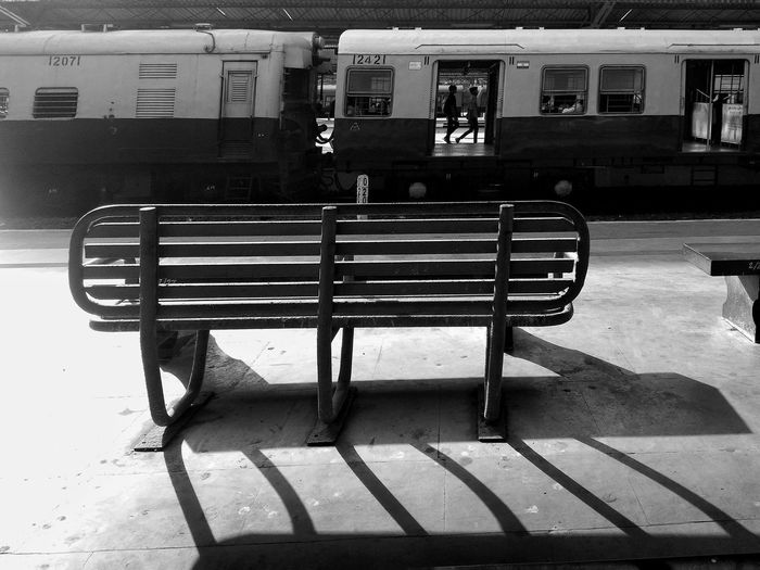 Empty benches at railroad station