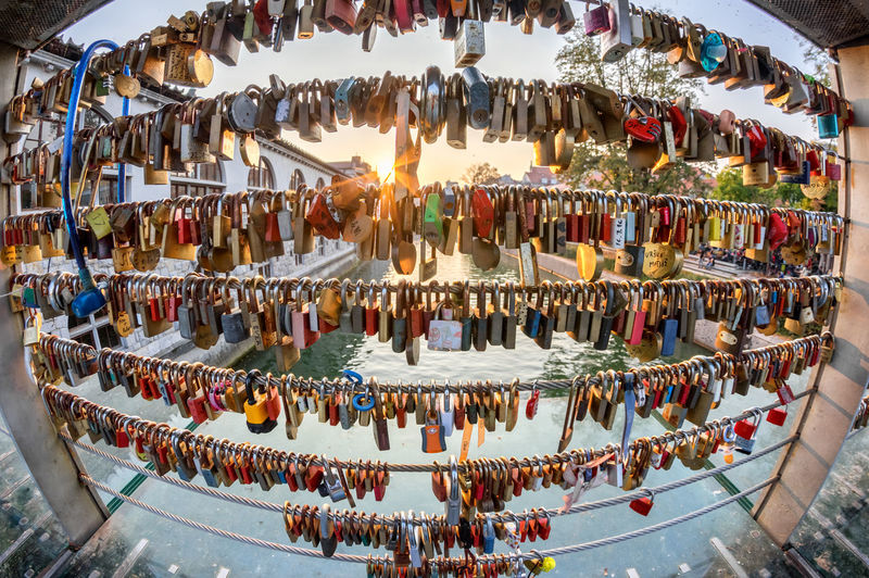 Locks on the bridge in Ljubljana Abundance Large Group Of Objects Choice Hanging Variation High Angle View Arrangement Architecture Multi Colored Retail  Water In A Row Nature Day Illuminated Outdoors No People Collection Built Structure Ljubljana Slovenia Europe EyeEm City Shots