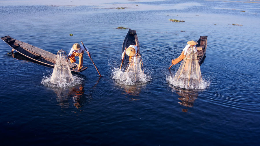 Beauty In Nature Blue Boat Day Inle Lake Intha Fishermen Myanmar Nature Outdoors Rippled My Year My View Tourism Tourist Attraction  Tranquil Scene Tranquility Travel Travel Destinations Travel Photography Water Water Surface Waterfront Fine Art Photography People And Places
