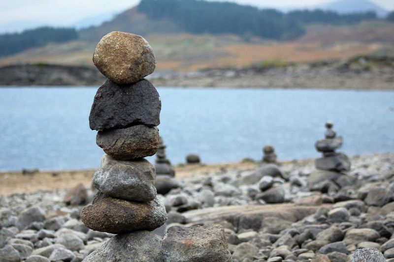 Loch Doon Loch Doon Loch  Standing Stones Stacked Close-up Mountain Beach Tranquil Scene Sky Scenics No People Outdoors Tranquility Nature Pebble Day Beauty In Nature