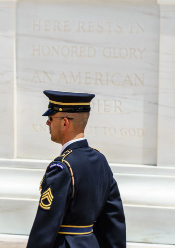 Arlington  Arlington National Cemetary Arlington National Cemetery Cap Casual Clothing Close-up D.C. Day Focus On Foreground Headshot Honor Guard Honour Guard Leisure Activity Lifestyles Part Of Text Tomb Of The Unknown Soldier Unknown Soldiers USA Virginia Washington