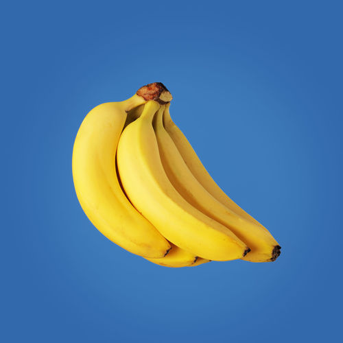Bunch of yellow bananas on blue background.