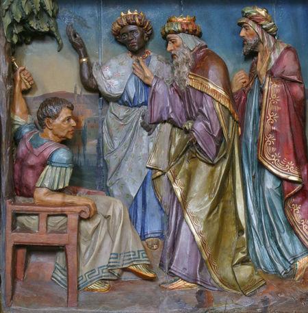 Three Magi before Herod Adoration Birth Christmas Creche Epiphany Faith God Herod Holy Jesus Kings Magi Manger Men Nativity Peace Religion Religious  Saint Scene Spiritual Wise
