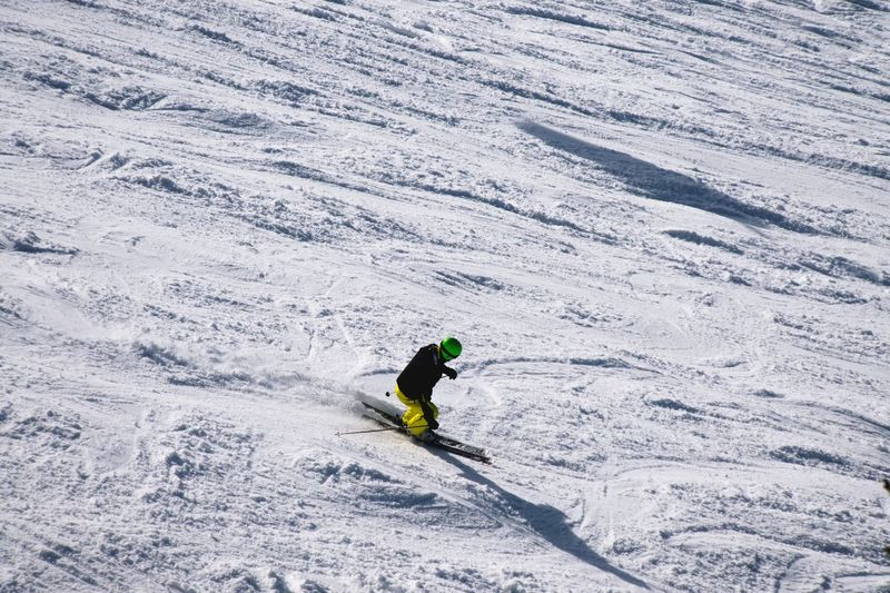 Austrian Alps Scenery Shots People Watching Skiing High Angle View Winter Sport