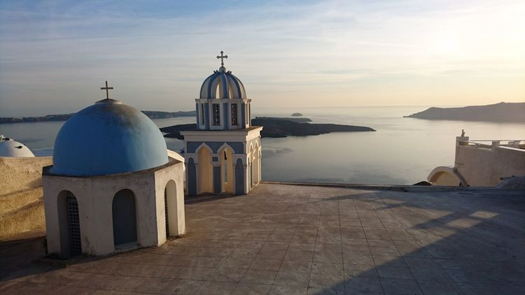EyeEm Selects Religion Dome Travel Destinations Spirituality Sea Sky Summer Outdoors Water No People Place Of Worship Scenics Day Santorini, Greece