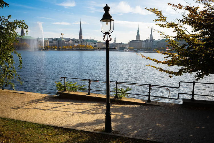 Hamburg Scenics- cityscape of Hamburg at lakeside Autumn Binnenalster City Cityscape Footpath Hamburg Nikon Open Edit Promenade Street Light Urban Nature Alster View Cityview Daylight Electric Lamp Eye4photography  Hamburgerecken Lakeside Lamp Design Latern Light And Shadow Outdoors Scenics Urban Urban Photography