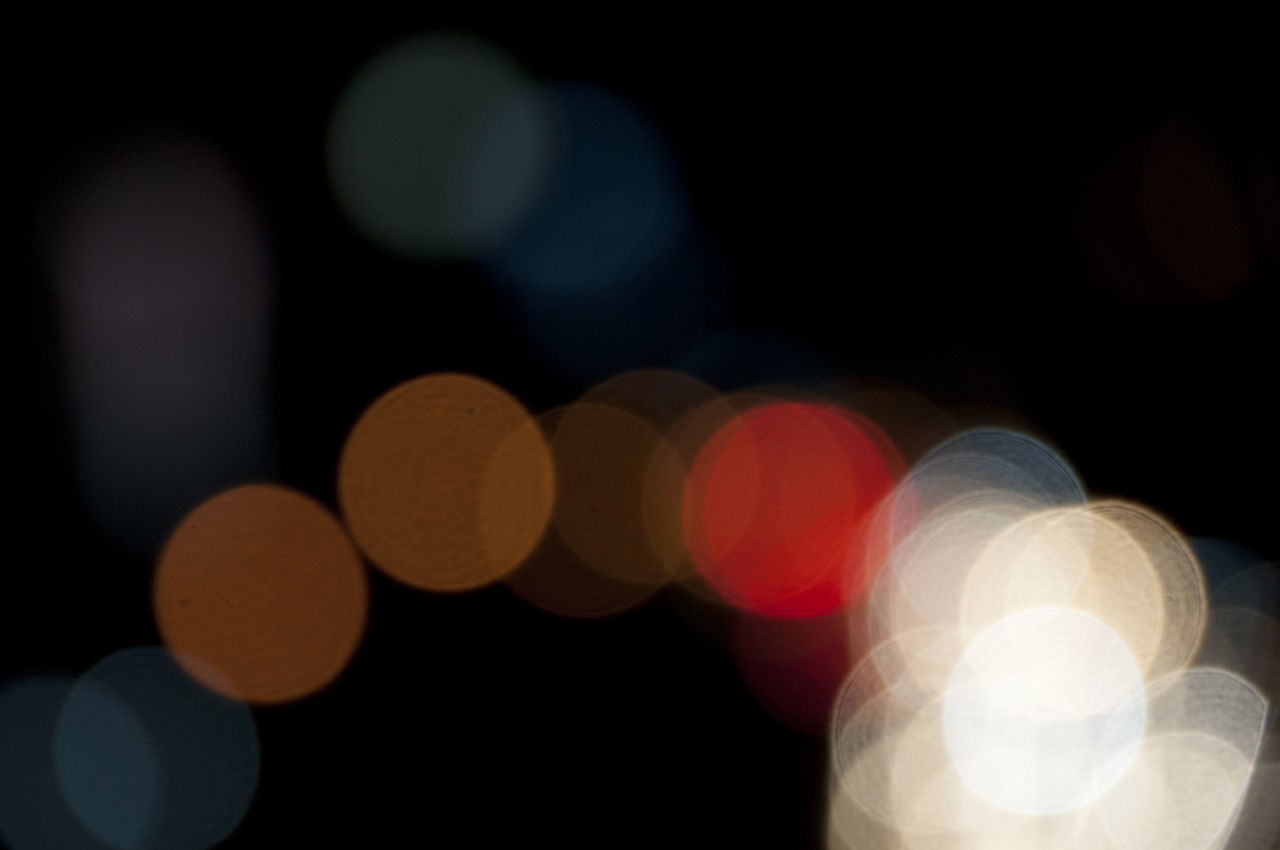 illuminated, defocused, night, circle, light effect, no people, outdoors, close-up, multi colored, backgrounds