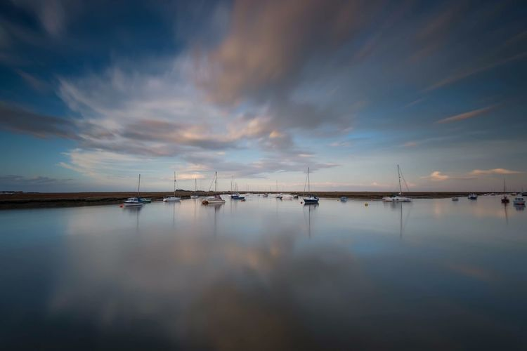 High Noon Clouds And Sky Blue Sky Blue Boats In The Sea Boats Coastal Coastline By The Sea Landscape Long Exposure High Tide Harbour Seaside Seascape Norfolk Wells-next-the-Sea The Great Outdoors - 2018 EyeEm Awards Water Sky Cloud - Sky Reflection Scenics - Nature Beauty In Nature Tranquility Tranquil Scene Sea Nautical Vessel Waterfront No People
