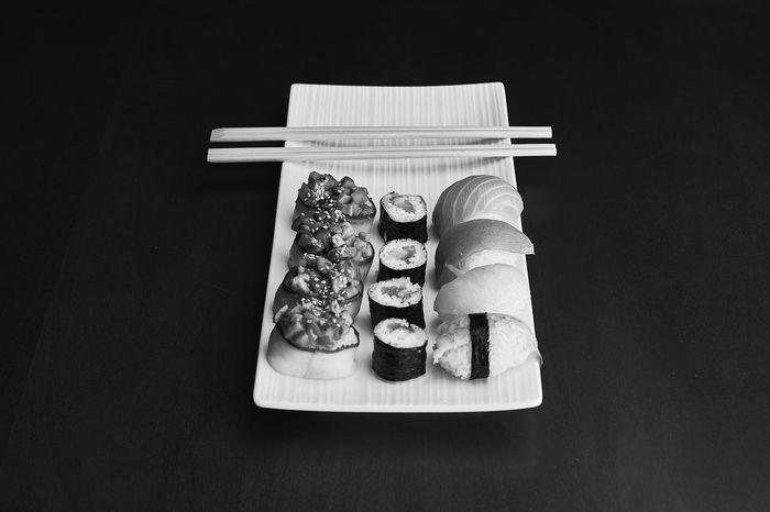 Sushi Black And White Black Background Close-up Food Indoors  Studio Shot Sushi Time