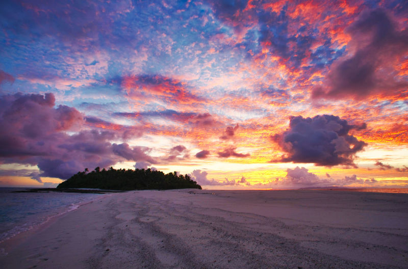 Paradise Beach at the Fiji Islands Fiji Fiji Islands Island Tropic Fiji Sunset Sky Beauty In Nature Cloud - Sky Scenics - Nature Tranquil Scene Tranquility Land Idyllic No People Nature Outdoors