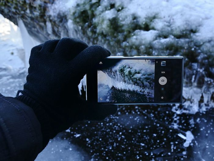 Photography Themes Technology Water Communication Photographing No People Outdoors Day Smartphone Photos Device Screen Holding Smartphone Life Mobile Phone Human Hand Human Body Part Smart Phone Winter Photography Winter ICE Photography Winter Photographer Winter Photoshots Polska Poland Zdjecie Smartfonem